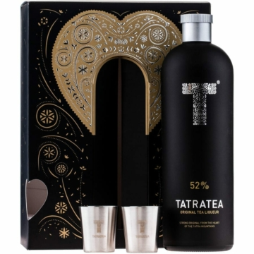 Tatratea (fekete) eredeti likőr 0,7l 52% + 2 pohár PDD