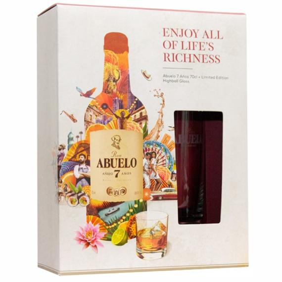 Abuelo 7 éves rum pohárral díszdobozban 0,7l 40%