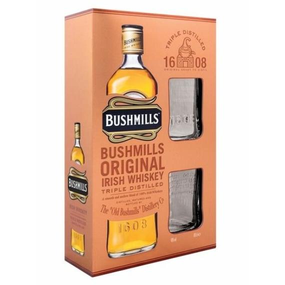 Bushmills Ír Whiskey 2 pohárral díszdobozban 1,0l 40%