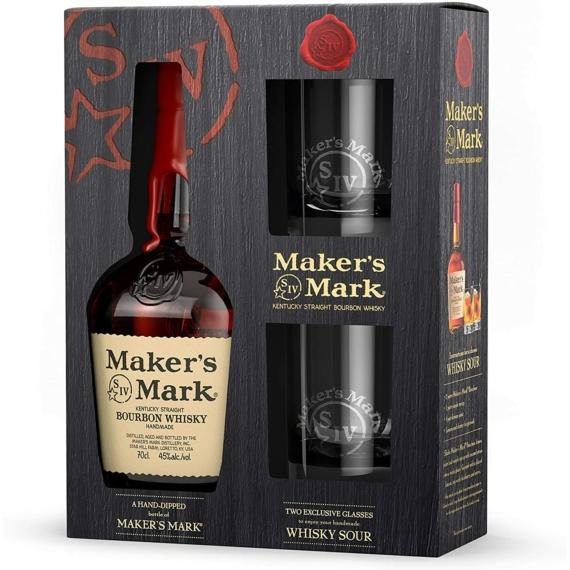 Maker's Mark Kentucky Bourbon Whisky  0,7l 45% 2 pohárral díszdobozban