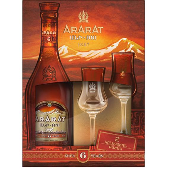 Ararat 5* 6years 0,7L+ 2 Glass +GB