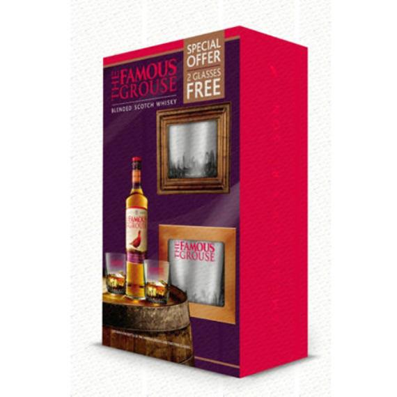 Famous Grouse Blended Skót Whisky 2 pohárral, Díszdobozban 0,7l
