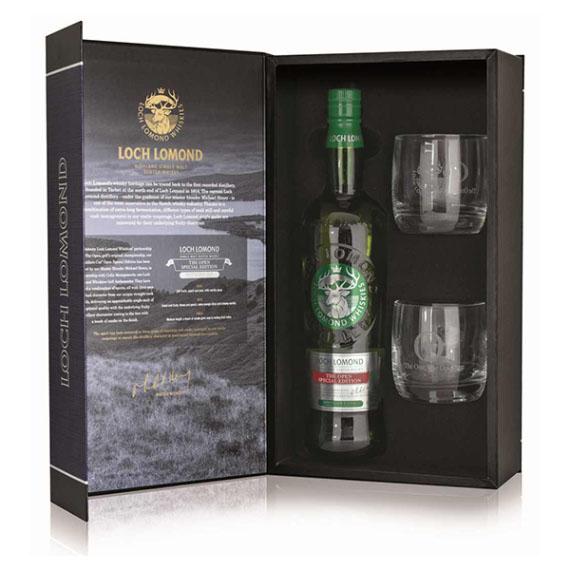 Loch Lomond The Open Special Edition Skót Whisky 2 pohárral díszdobozban