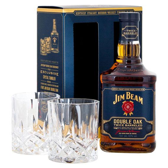 Jim Beam Double Oak 0,7L 43% + 2 pohár DD