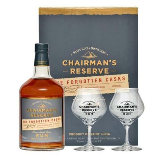 Chairman's Reserve The Forgotten Casks Rum Ajándékcsomag 2 pohárral
