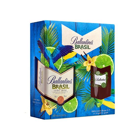 Ballantines Brasil 0,7l + long drink pohár