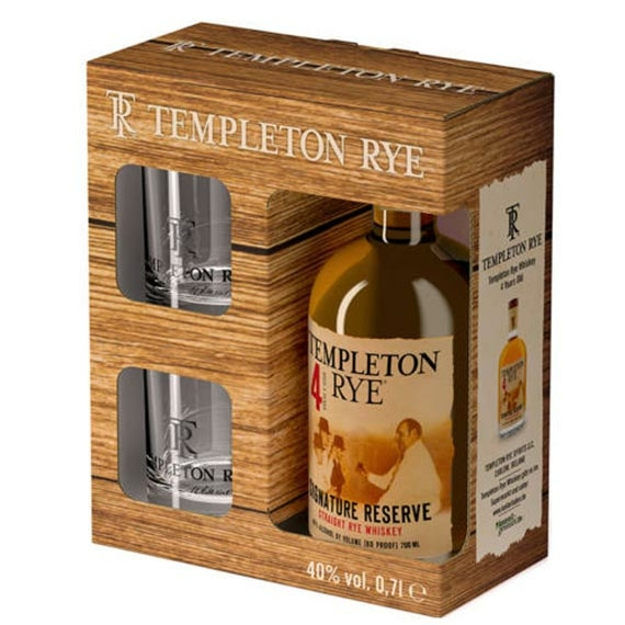 Templeton Rye 4 Éves Straight Rye Whiskey Díszdobozban 2 pohárral 0,7l 40%