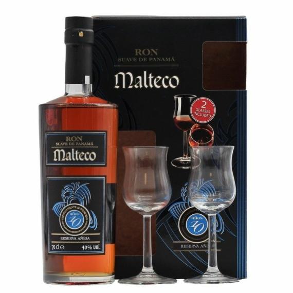 Ron Malteco 10 Éves Rum 2 pohárral díszdobozban 0,7L