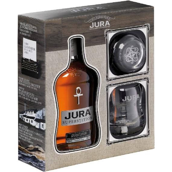 Isle of Jura Superstition Whisky Díszdobozban 2 Pohárral
